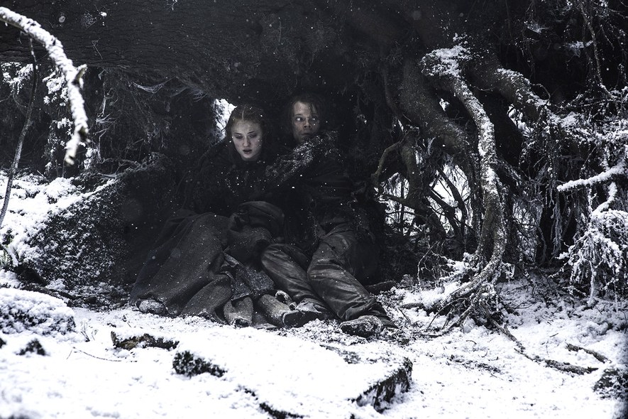 game of thrones s6e1 sansa and theon hiding in tree